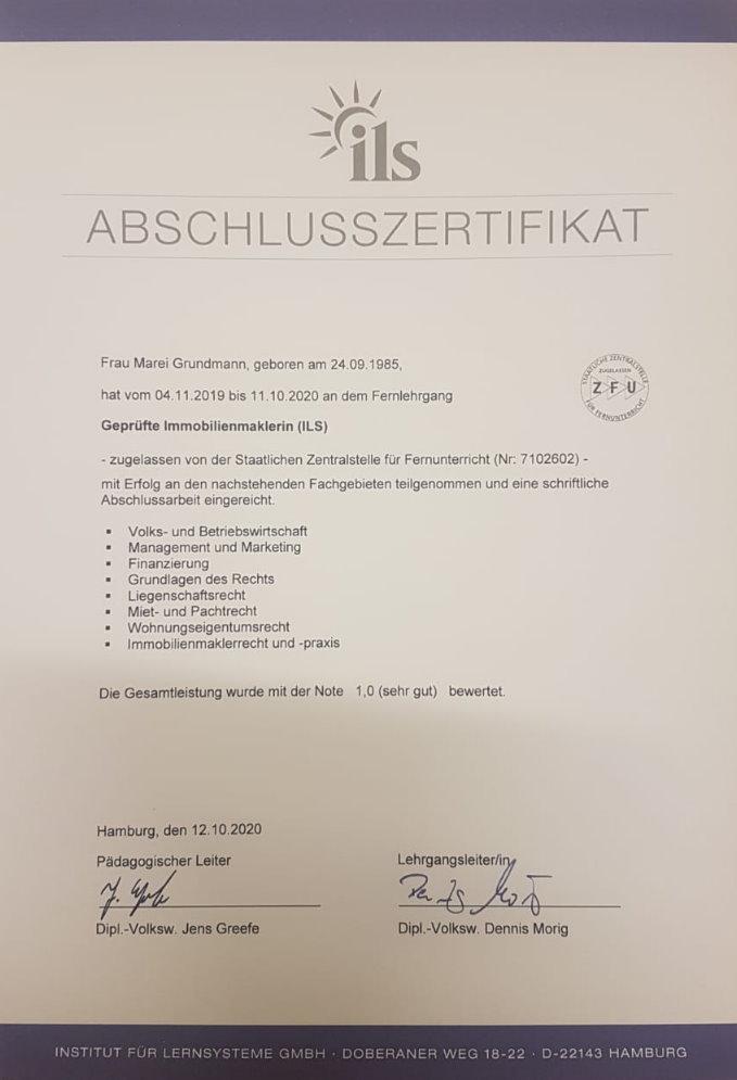 Grundmann Immobilien - Zertifikat ILS